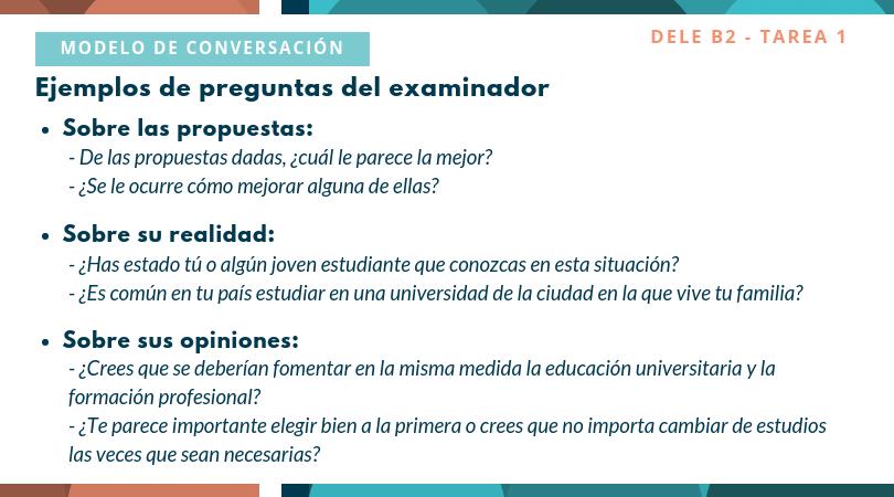 Modelo tarea 1 oral DELE B2 Conversación
